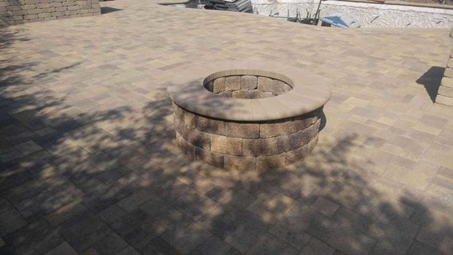 Circular Fire Pit, Angelus Courtyard pavers, sand stone mocha color