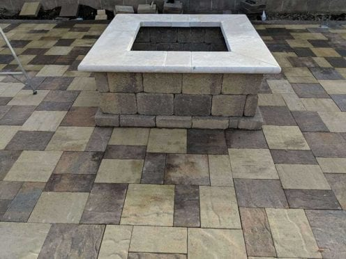 Custom Fire Pit, Belgard Avalon Slate pavers, Montecito + Bella 50/50 color mix