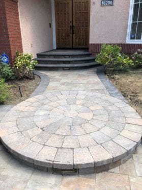 Circles: Front Walkway Circle Kit Step in Tucson and Belgard Bell Pavers