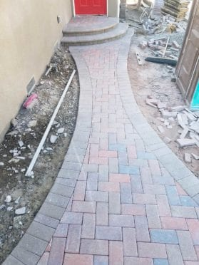 Herringbone Red Brow Charcoal Walkway